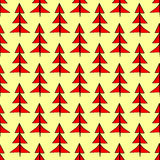 Red Christmas spruce seamless pattern Stock Photos