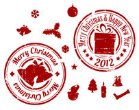 Red Christmas stamps stock illustration