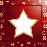 Red christmas star background and border. Red christmas background with cut out Christmas star and gold border Stock Images