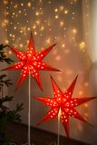Red Christmas star. Christmas cozy home interior decoration stock photo