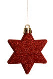Red christmas star decoration hanging Stock Images