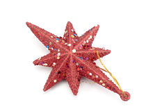 Red Christmas star isolated Stock Photo