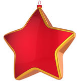 Red Christmas star shape bauble. With golden border. Modern shiny Xmas New Year decoration. This is a detailed 3D render (Hi-Res). Isolated on white background Royalty Free Stock Images