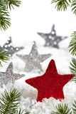Red Christmas star with silver stars Royalty Free Stock Photos