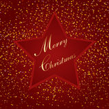 Red christmas star, with small paper, illustration. Red Christmas background with star, bits of paper illustration Royalty Free Stock Images