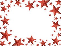 Red Christmas stars frame Royalty Free Stock Photography