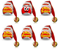 Red Christmas Stickers Royalty Free Stock Photos