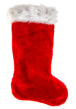 Red christmas stocking. Decoration object. Winter holidays symbo Royalty Free Stock Photography