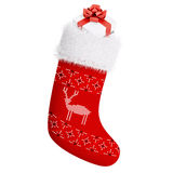 Red christmas stocking with gift  3d rendering Royalty Free Stock Image
