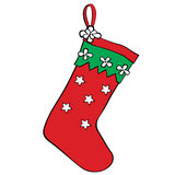 Red christmas stocking for gifts. Royalty Free Stock Image