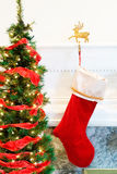 Red Christmas stocking with holder Stock Photo