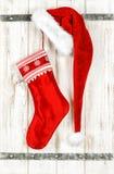 Red christmas stocking. Retro style decoration Stock Photo