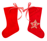 Red christmas stocking for Santas gifts Stock Image