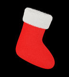 Red christmas stocking with white fur Stock Photo