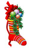 Red Christmas Striped Stocking Royalty Free Stock Images