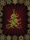 Red Christmas swirly tree with floral elements Royalty Free Stock Photography