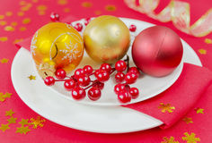 Red Christmas table Royalty Free Stock Images
