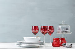 Red christmas table decoration Stock Photography