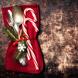 Red Christmas table place setting  with copyspace. Christmas hol Royalty Free Stock Images