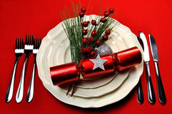 Red Christmas Table Setting Royalty Free Stock Image