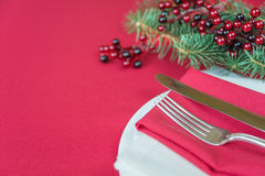 Red Christmas table Royalty Free Stock Image