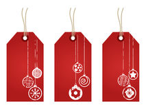 Red christmas tags Stock Photo