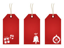 Red christmas tags Stock Photography