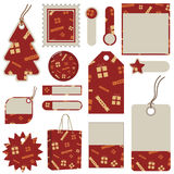 Red christmas tags and tabs Stock Photo