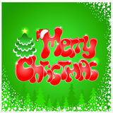 Red Christmas text on green background Royalty Free Stock Photography