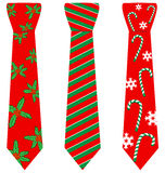 Red Christmas ties with print on white Royalty Free Stock Image