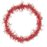 Red Christmas tinsel frame, isolated on white. Round. Stock Photo