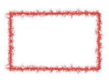 Red Christmas tinsel frame, isolated on white. Royalty Free Stock Images