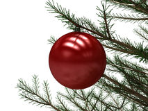 Red Christmas Toy Attached To A Tree Branch Stock Photo