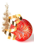 Red Christmas Toy with gold ribbon Stock Photography