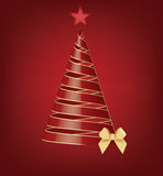 Red christmas tree. Isolated red and gold christmas tree with 3D optical effect Royalty Free Stock Image