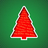 Red Christmas tree. Christmas tree cut out from paper with inscriptions Merry Christmas Royalty Free Stock Photography