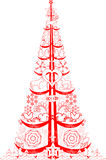 Red christmas tree Royalty Free Stock Photography