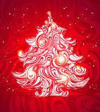 Red christmas tree background Stock Photo