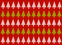Red Christmas Tree Background. A background pattern featuring rows of Christmas trees in green and white set against a red sweater textured background Royalty Free Stock Images