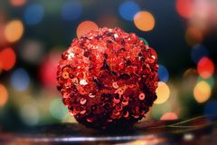 Red Christmas tree ball. Macro view Stock Images