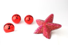 Red Christmas tree balls Stock Images