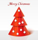 Red christmas tree with balls Royalty Free Stock Photography