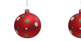 Red Christmas Tree Balls. With spots, isolated on white background royalty free stock images