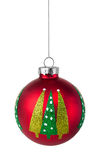 Red Christmas tree bauble hanging on a string Royalty Free Stock Images