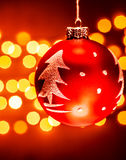Red Christmas tree bauble Royalty Free Stock Images