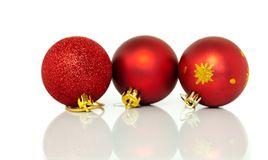 Red Christmas tree baubles decorations at xmas Royalty Free Stock Photography
