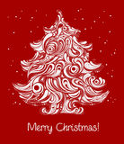 Red Christmas tree card vector illustration
