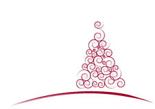 Red Christmas tree card. With white background Royalty Free Stock Images