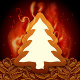 Red Christmas tree card  with coffee. Coffe Christmas tree card. Vector illustration Stock Photography