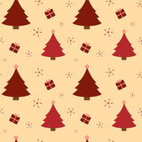 Red christmas tree and cute presents seamless pattern background holiday illustration Royalty Free Stock Photos
